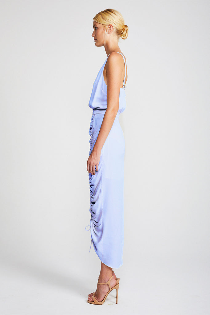 CALYPSO RUCHED COCKTAIL MIDI DRESS - CORNFLOWER
