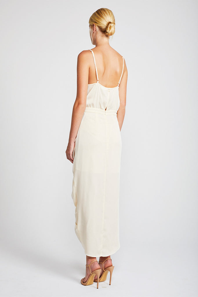 SOLAR RUCHED COCKTAIL MIDI DRESS