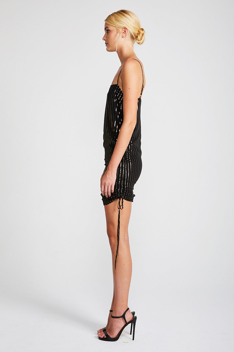 PHANTOM RUCHED SLIP DRESS