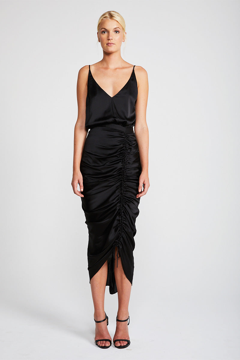 SOLAR RUCHED COCKTAIL MIDI DRESS - BLACK