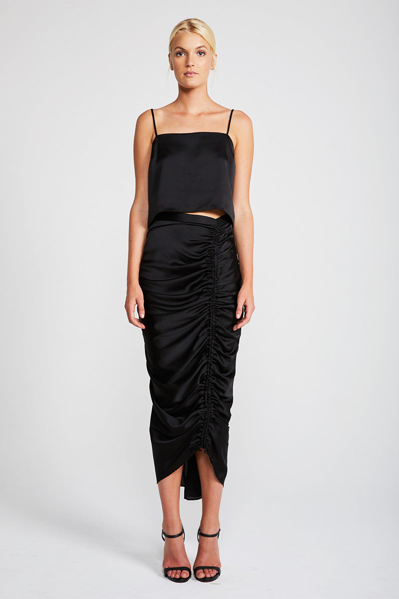 SOLAR RUCHED MIDI SKIRT - BLACK