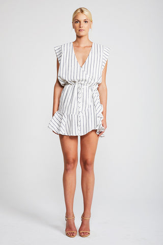 AQUARIUS DRAWSTRING MINI DRESS - IVORY