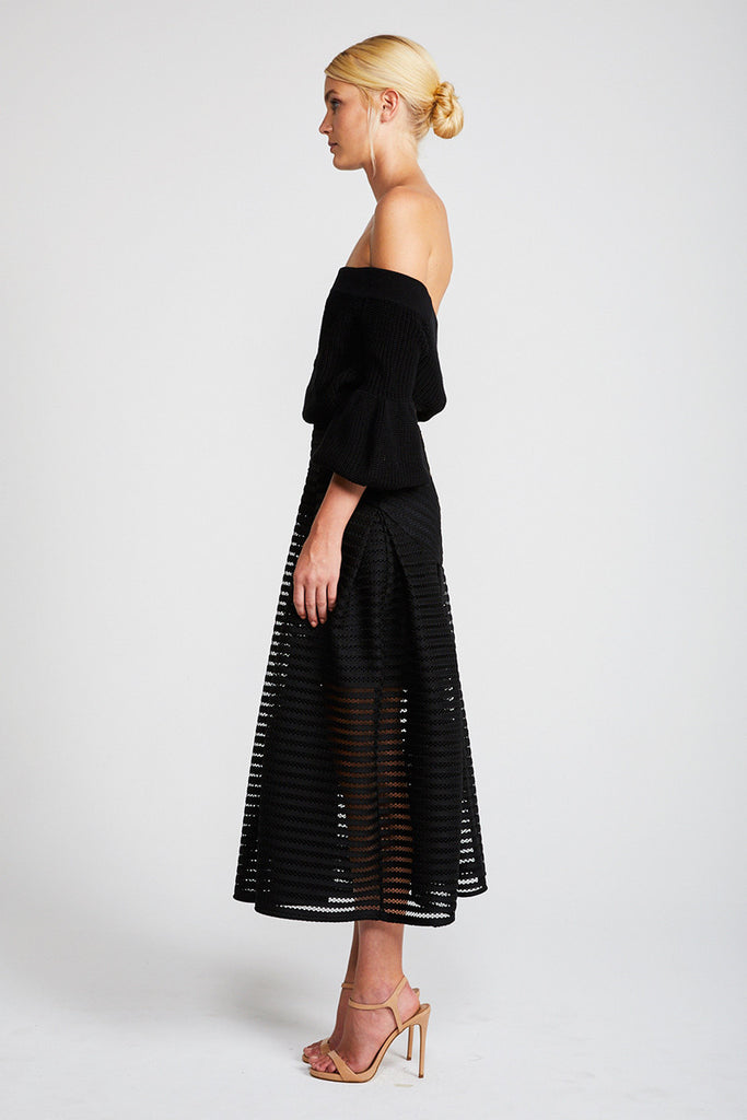 PEGASUS PLEATED MIDI SKIRT - BLACK