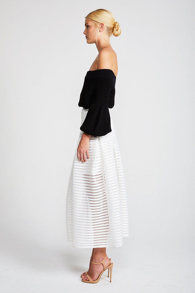 PEGASUS PLEATED MIDI SKIRT - IVORY