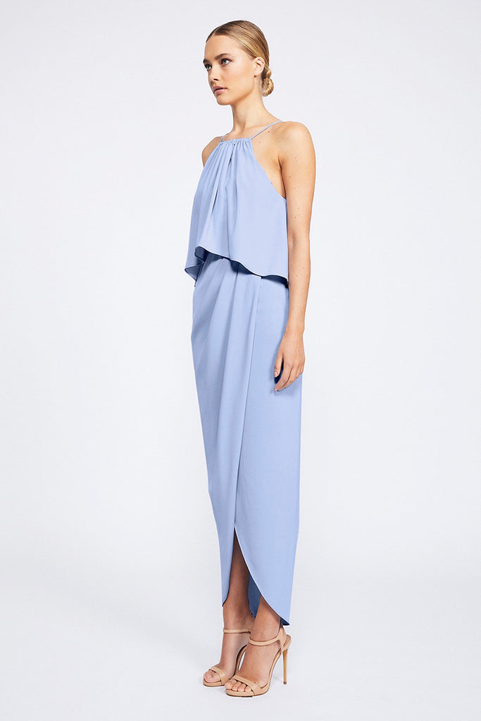 CORE HIGH NECK FRILL DRESS - CORNFLOWER