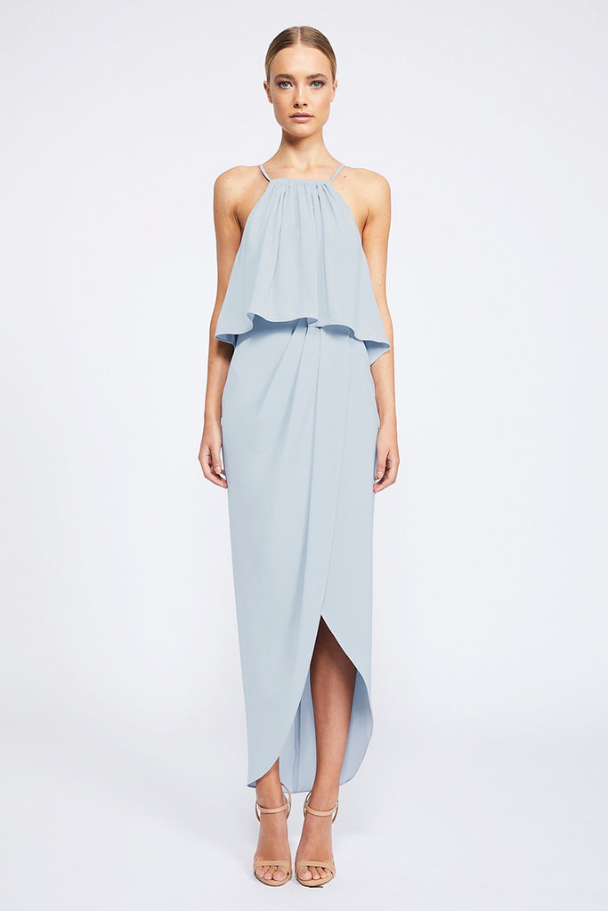 CORE HIGH NECK FRILL DRESS - POWDER BLUE
