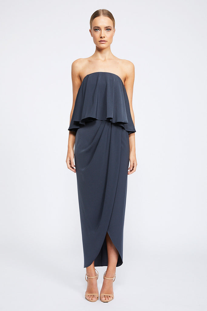 CORE STRAPLESS FRILL DRESS - CHARCOAL