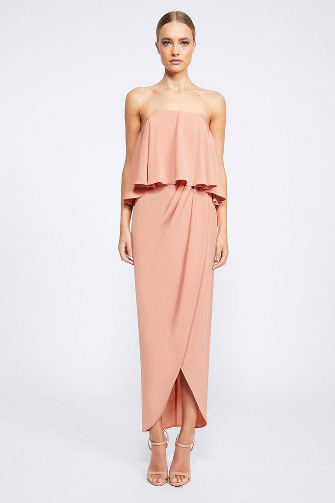 CORE STRAPLESS FRILL DRESS - DUSTY PINK