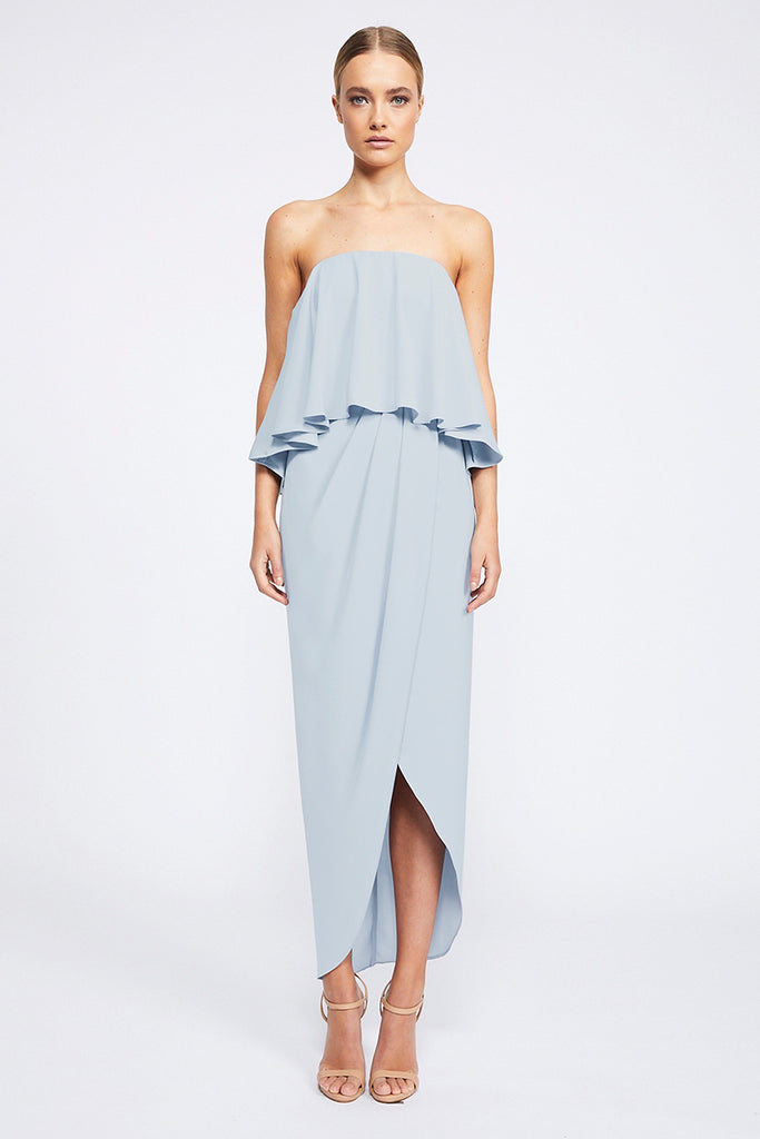 CORE STRAPLESS FRILL DRESS - POWDER BLUE