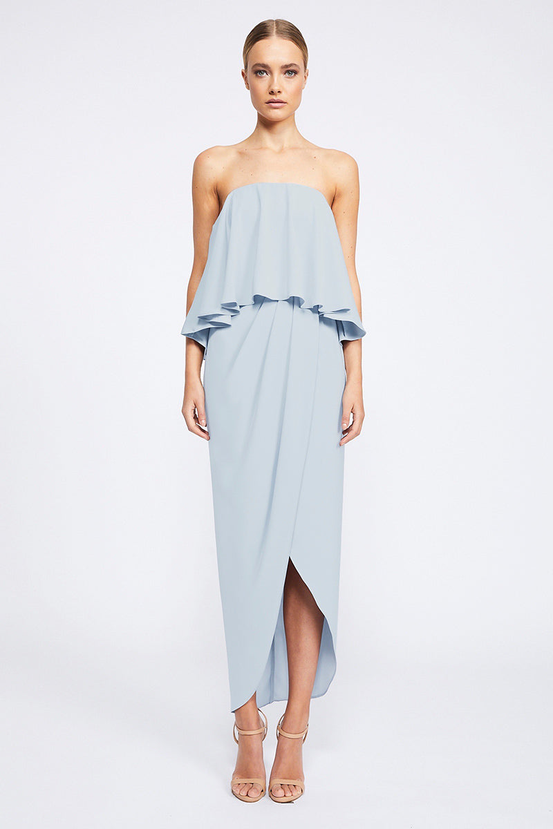 Core Strapless Frill Dress | Powder Blue | Cocktail Dresses | Shona Joy