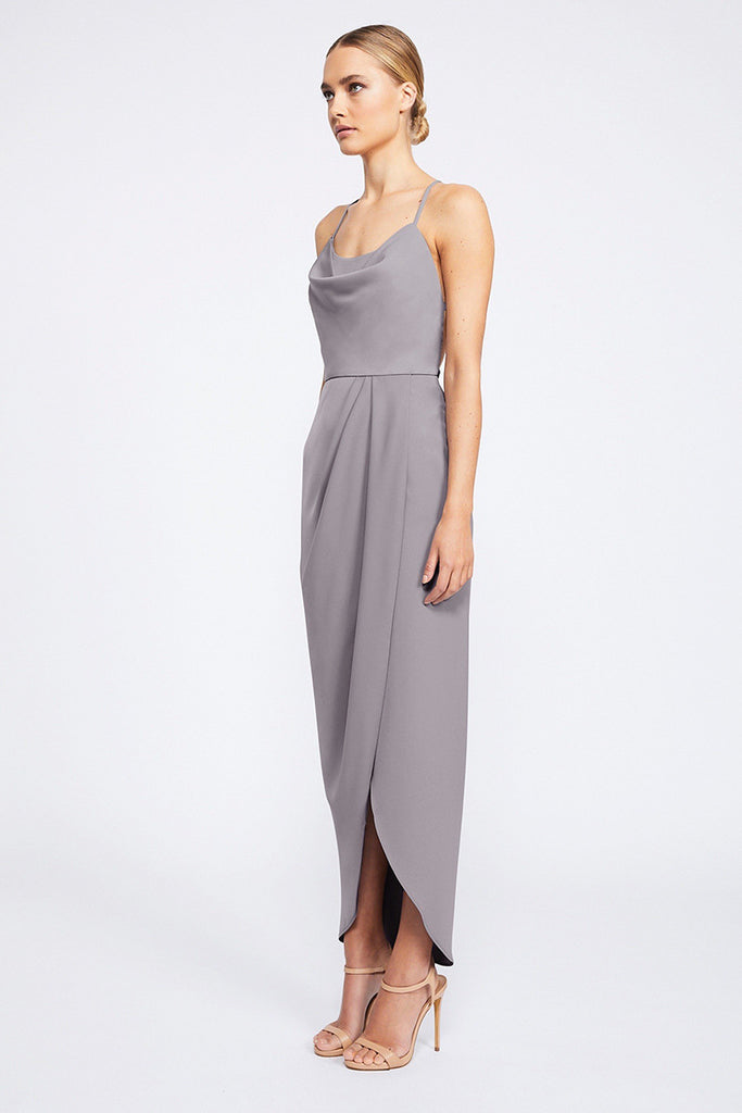 CORE LACE UP COWL MAXI - GREY