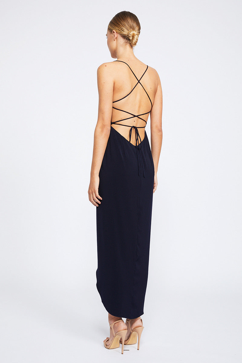 CORE LACE UP COWL MAXI - NAVY