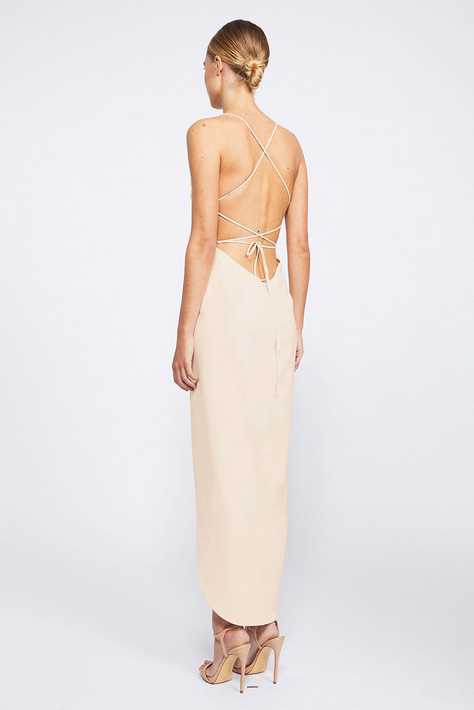 CORE LACE UP COWL MAXI - NUDE
