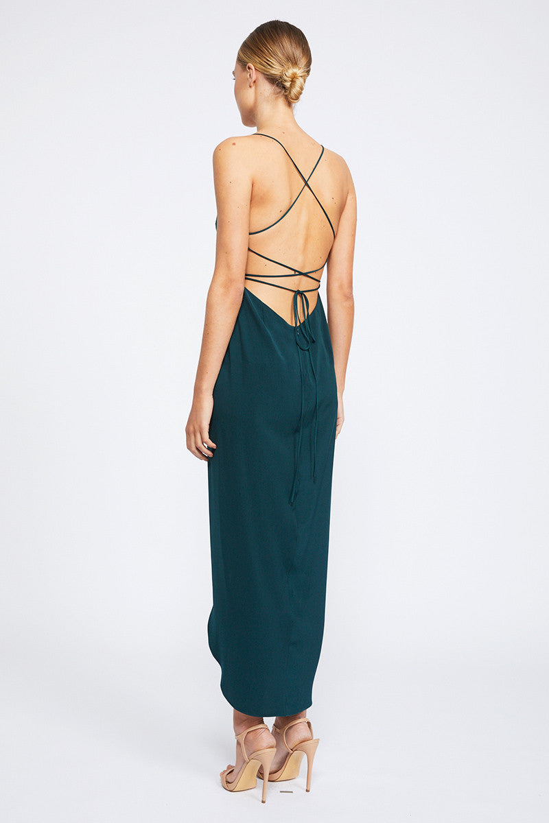 CORE LACE UP COWL MAXI - SEAWEED