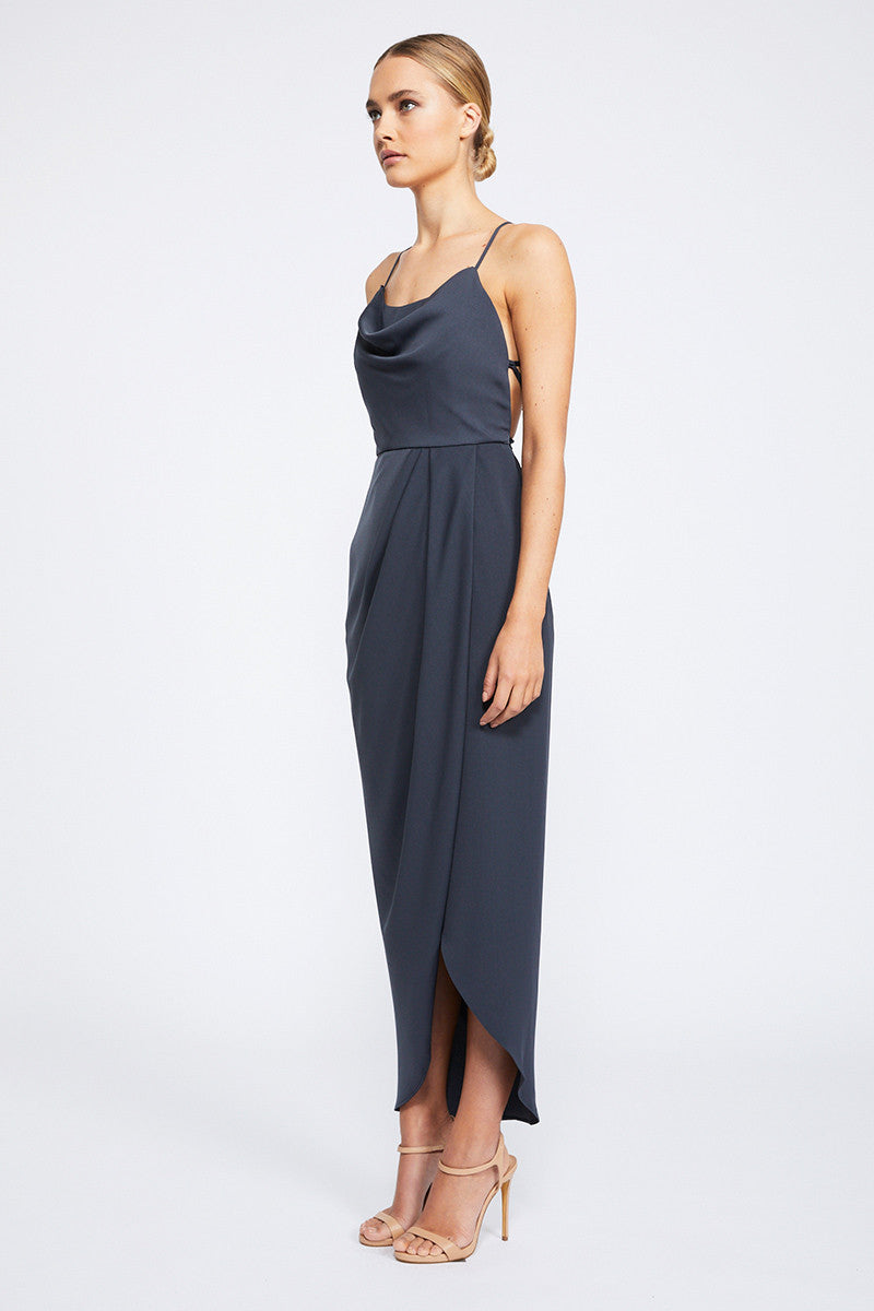 CORE LACE UP COWL MAXI - CHARCOAL