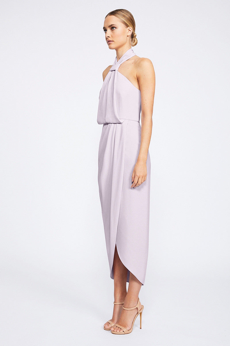 CORE KNOT DRAPED DRESS - LILAC