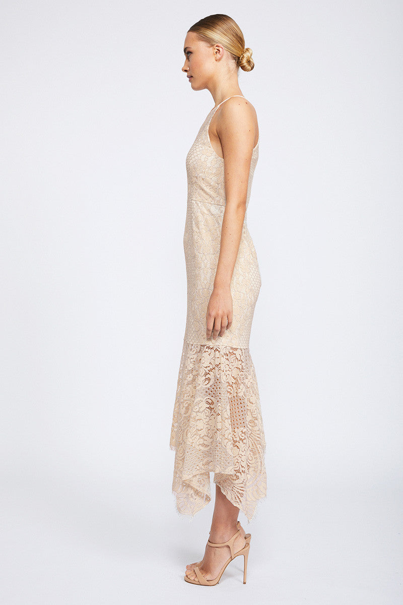 LACE HIGH NECK HANDKERCHIEF MIDI DRESS - NUDE