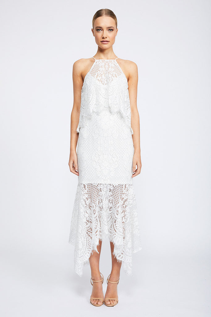 LACE HIGH NECK HANDKERCHIEF DRESS WITH FRILL - IVORY