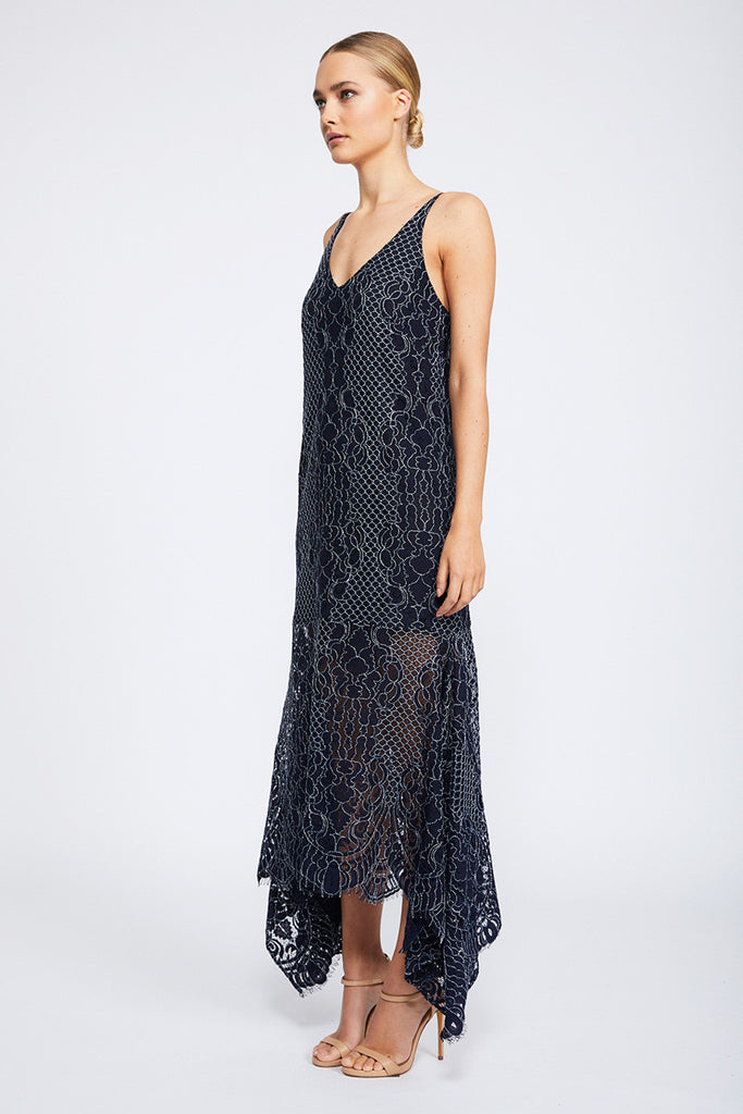 LACE HANDKERCHIEF SLIP DRESS - NAVY