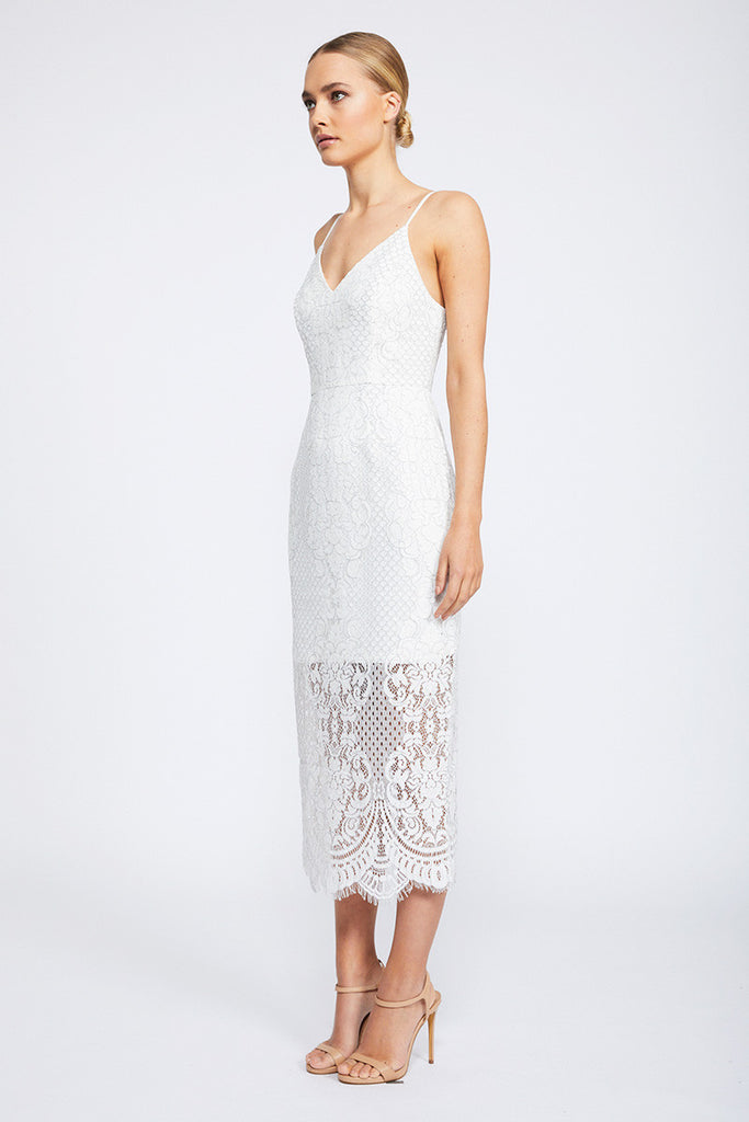 LACE COCKTAIL MIDI DRESS - IVORY