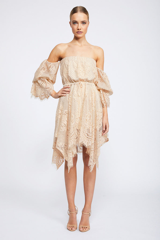 LACE OFF THE SHOULDER MINI DRESS - NUDE