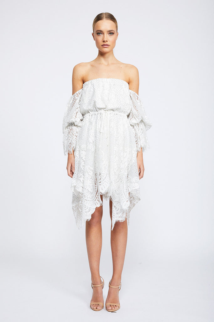 LACE OFF THE SHOULDER MINI DRESS - IVORY