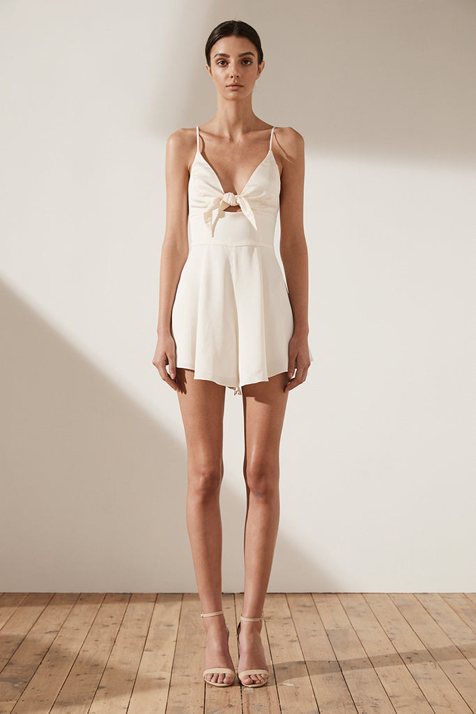 ZEPHYR TIE FRONT PLAYSUIT - CREAM