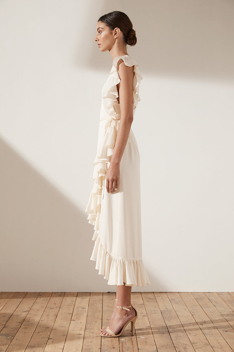 ZEPHYR RUFFLE WRAP MIDI DRESS - CREAM