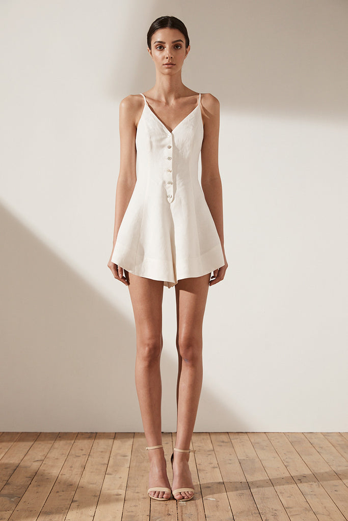 ARIA BUTTON UP PLAYSUIT - CREAM