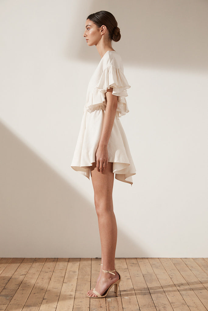 ARIA RUFFLE DRAWSTRING MINI DRESS - CREAM
