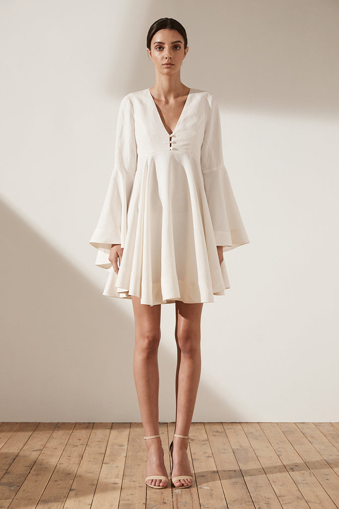 ARIA FLARED SLEEVE TUNIC DRESS - CREAM