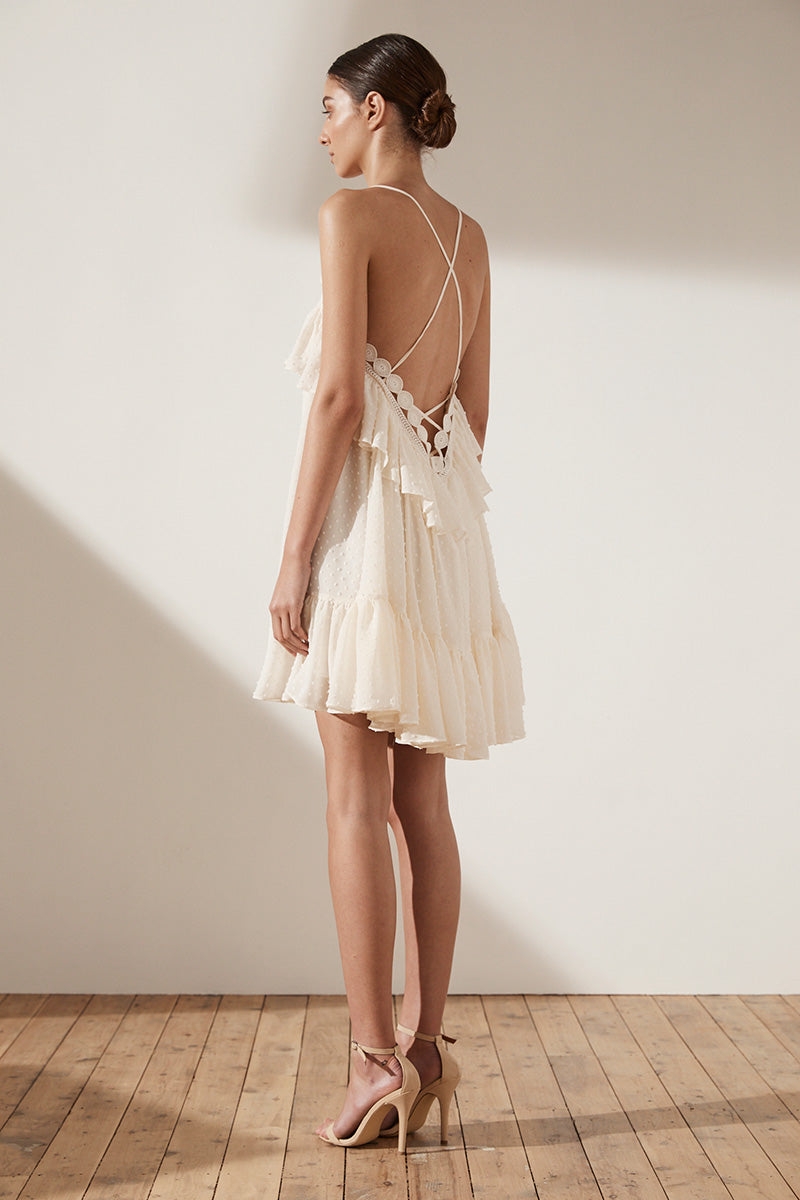 STELLA CROSS BACK MINI DRESS - CREAM