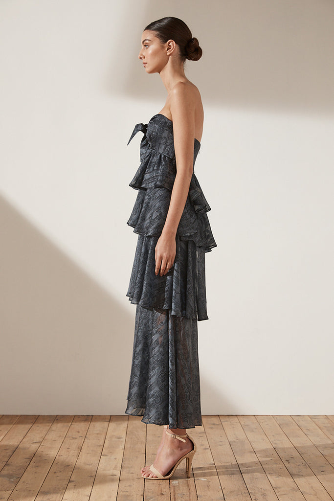 MAREA TIERED MAXI DRESS - CHARCOAL