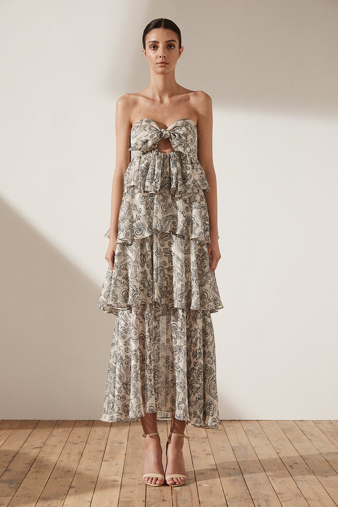 MAREA TIERED MAXI DRESS - STONE