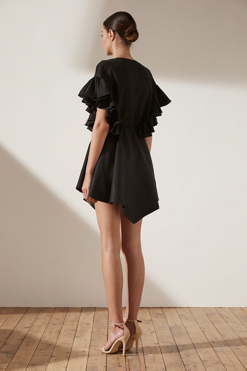 ARIA RUFFLE DRAWSTRING MINI DRESS - BLACK