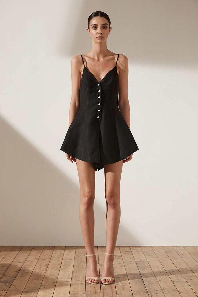 ARIA BUTTON UP PLAYSUIT - BLACK
