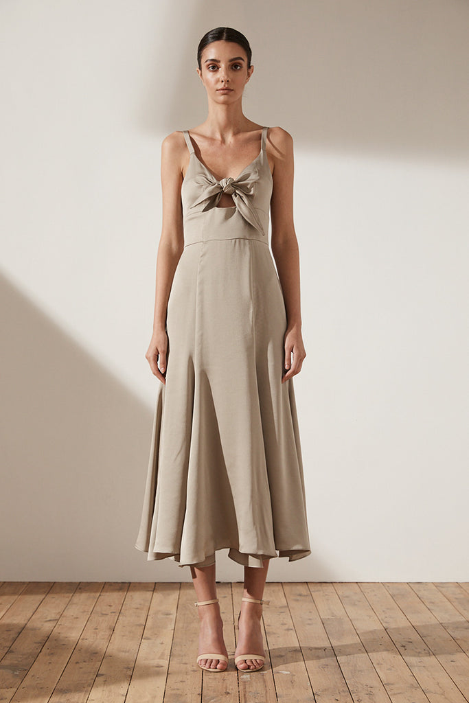 ZEPHYR TIE FRONT TRUMPET MIDI DRESS - LATTE