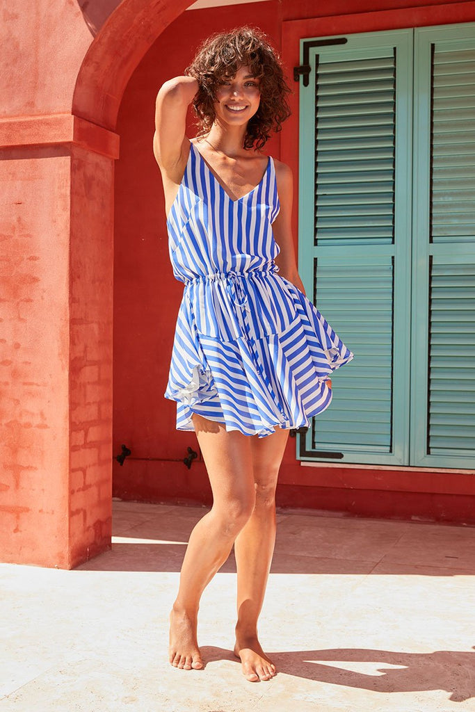 SAN REMO DRAWSTRING MINI DRESS - COBALT STRIPE