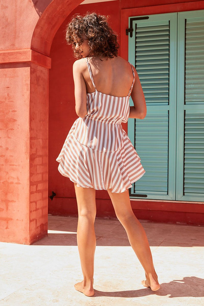 SAN REMO DRAWSTRING MINI DRESS - MOCHA STRIPE