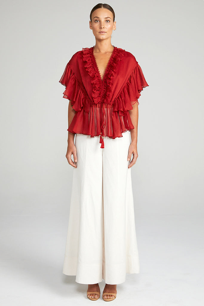 CATHERINE FRILL DRAWSTRING BLOUSE - BURNT RED