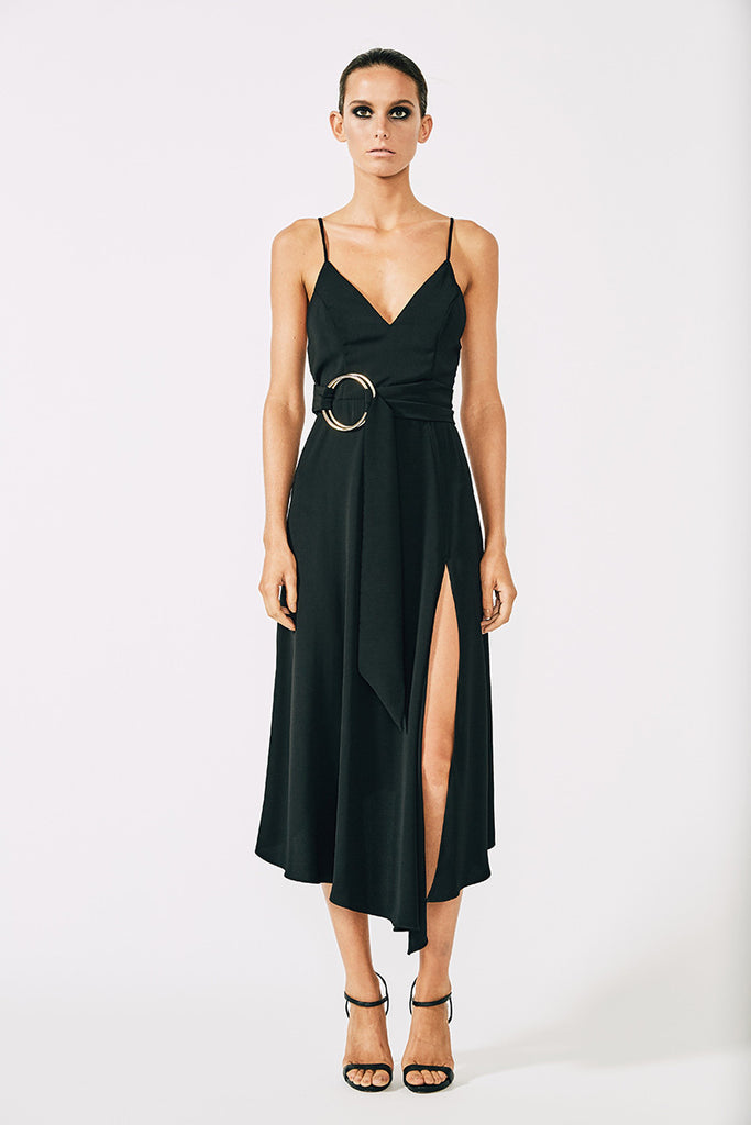 VOLTAIRE COCKTAIL DRESS WITH RINGS - BLACK