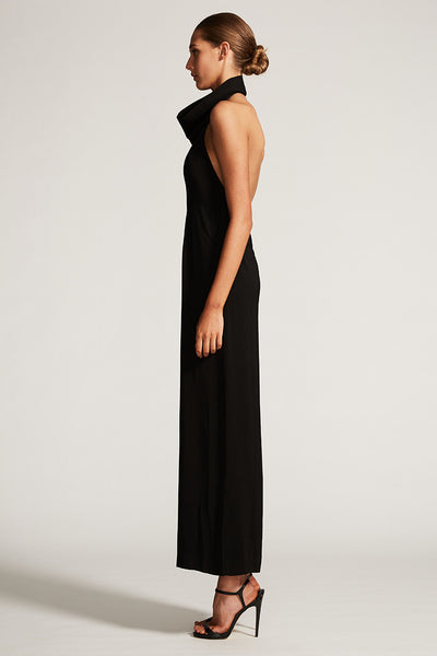 CORE FUNNEL NECK BACKLESS JUMPSUIT - BLACK