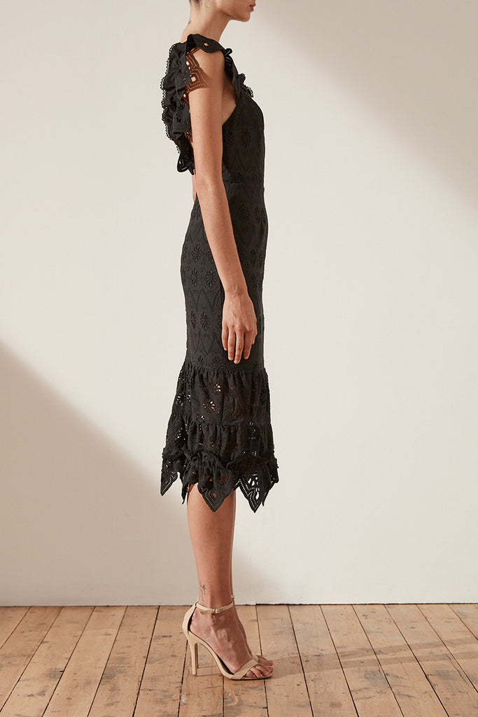 VIOLA COTTON LACE COCKTAIL MIDI DRESS - BLACK