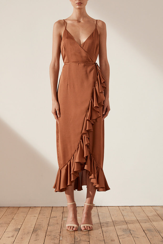 ORO COCKTAIL WRAP MIDI DRESS - MOCHA