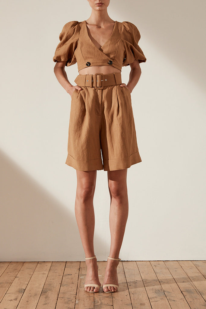 GAIA LINEN HIGH WAIST BERMUDA SHORT WITH BELT - NUTMEG