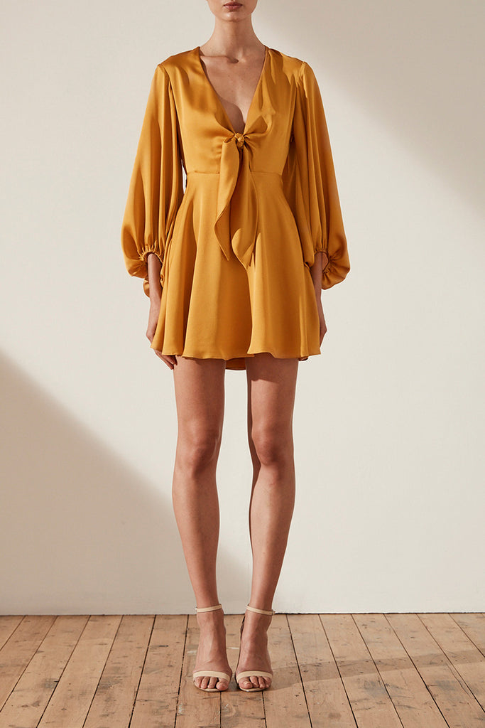 ORO TIE FRONT MINI DRESS - SAFFRON
