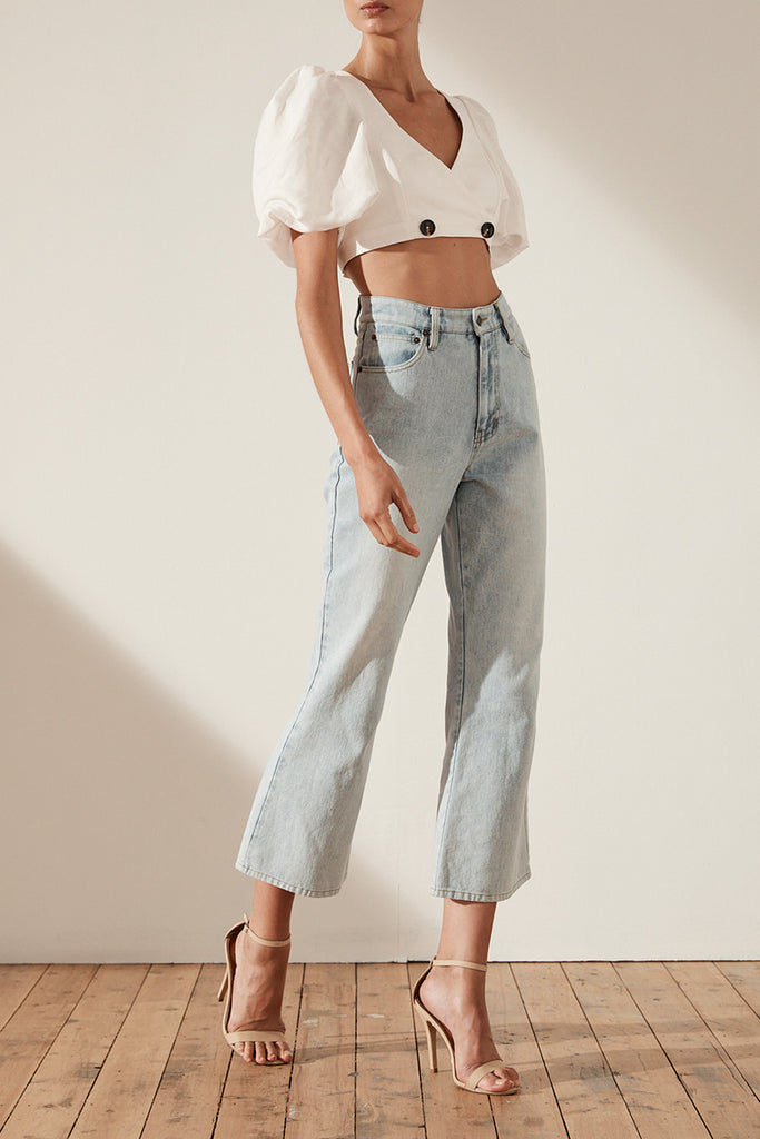 CORTONA HIGH RISE CROPPED FLARE - LIGHT BLUE STONE WASH