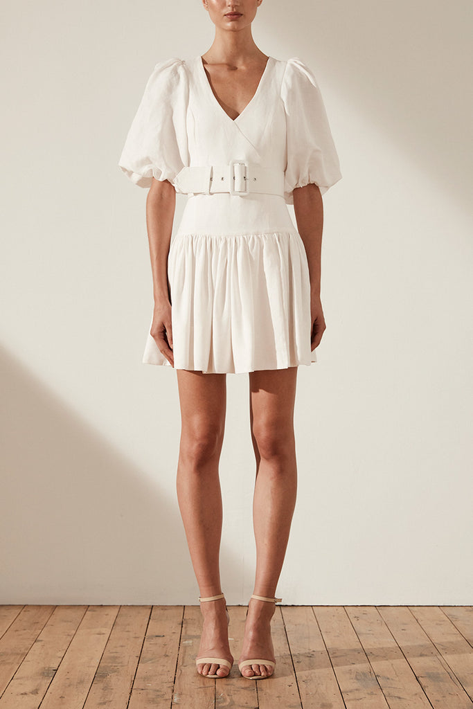 GAIA LINEN PUFF SLEEVE DROP WAIST MINI DRESS WITH BELT - IVORY