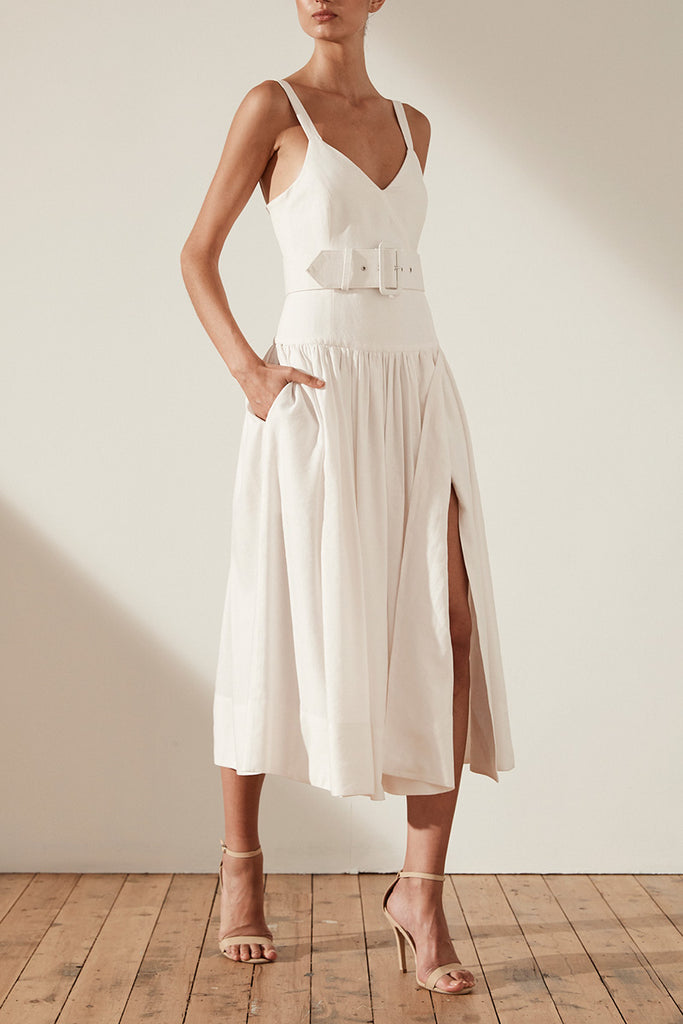 GAIA LINEN DROP WAIST MIDI DRESS WITH BELT - IVORY