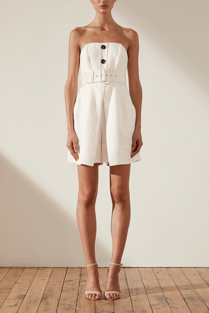 GAIA LINEN BUSTIER PLAYSUIT WITH BELT - IVORY
